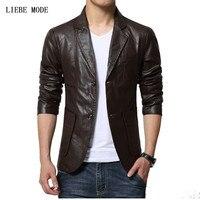 5xl 6xl tamaño grande slim fit chaqueta de cuero buena calidad solo traje cruzado chaqueta cuero Chaquetas y Abrigos negro marrón