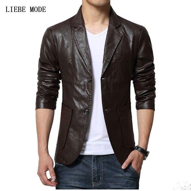 5241eae223b Mens Business Casual Faux Leather Jacket Men Slim Fit Suit Jacket Plus Size  Blazer Masculino Black Brown Khaki Veste Cuir Homme