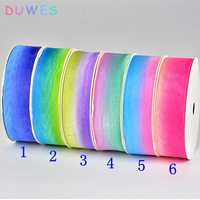 DUWES Various Size color Free shipping G Sheer Organza Ribbon Accessory hairbow headwear DIY decoration OEM D715