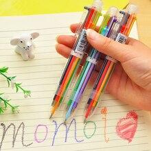 Креативная многоцветная шариковая ручка, милая масляная ручка, канцелярский пресс, шесть цветов, масляная ручка для студентов, детей, офисные и школьные принадлежности