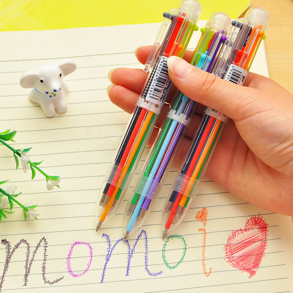 Creative Multicolor Ballpoint Pen Lovely Oil Pen Stationery Press Six Color Oil Pen For Student Children Office & School Supply