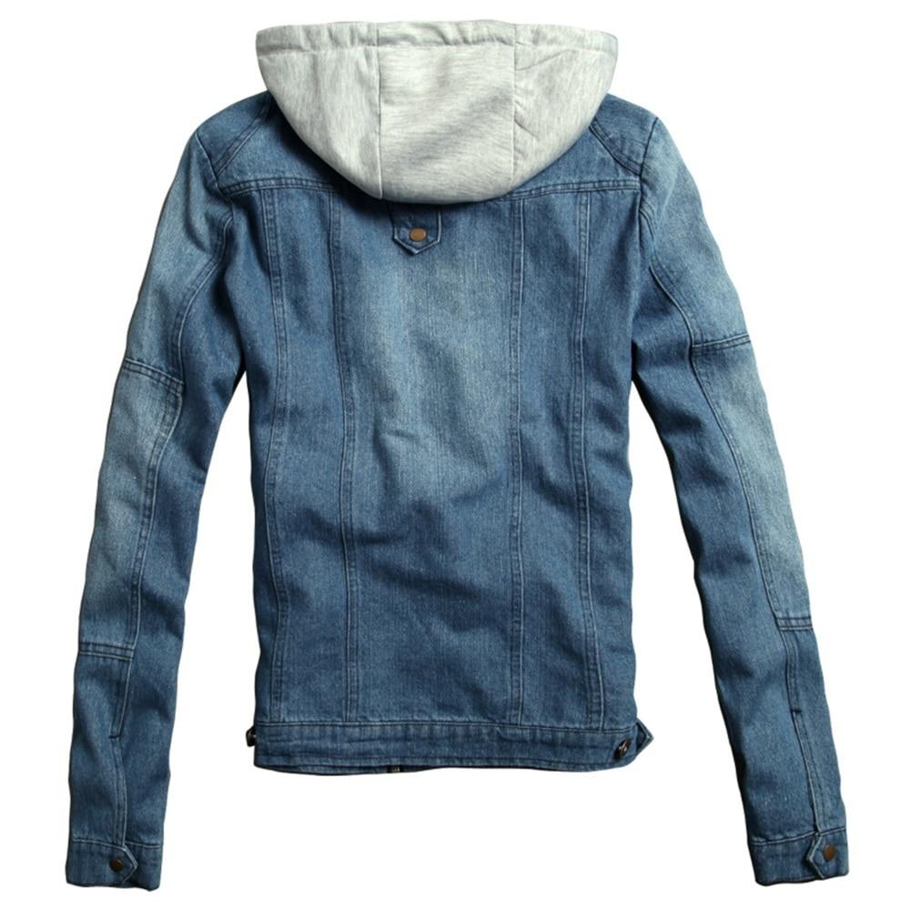New Winter Men's Denim Jeans Jacket Hooded Male Outwear Korean ...