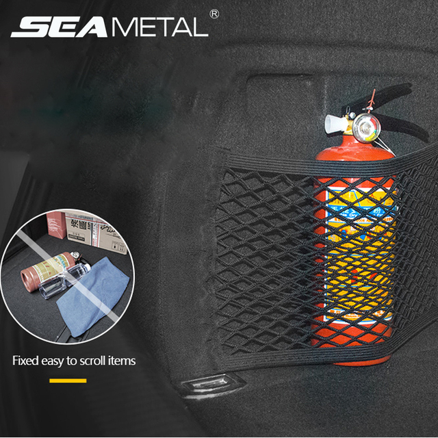 Car Trunk Mesh Organizer Storage Net Seat Back Bag Universal SUV Boot String Pockets Auto Magic Tape Fire Extinguisher Network