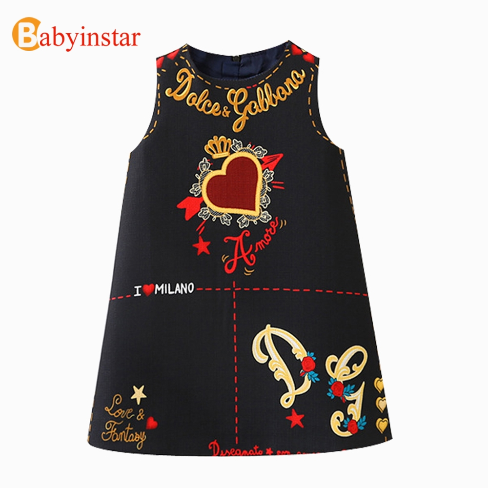 Babyinstar 2018 New Arrive Girls Princess Dress Sleeveless Cute Graffiti Pattern Children Fashion Clothing Kids Party Dress