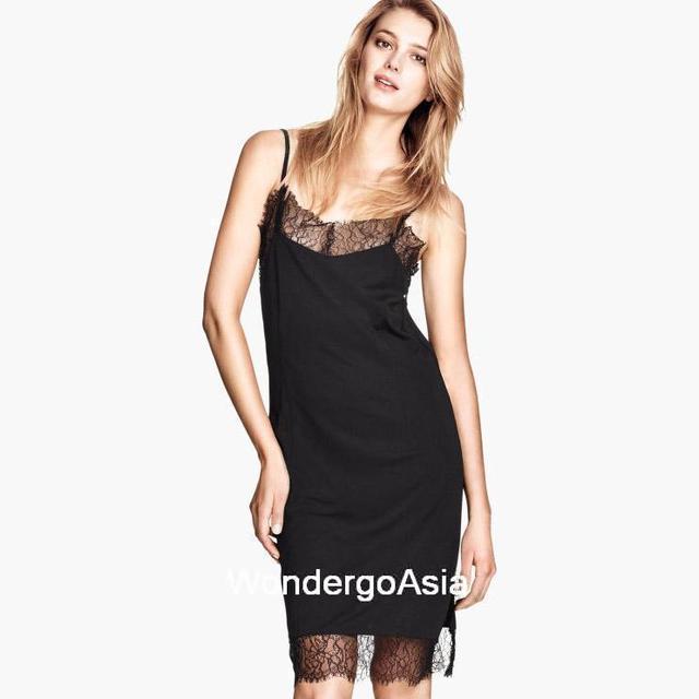 6142d939c4ab Womens Black cami spaghetti strap Knee-length lace Trim Hem both sides  short split Dress