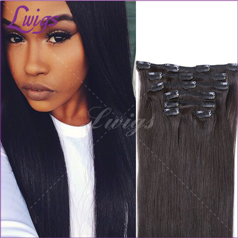 Cheap price clip in straight virgin hair african black women human clip in hair extensions 8Pcs/set 120g wholesale