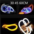 Ángel de Ojos 2x Luz Corriente Diurna Universal Tubo Guía Suave y Tira Flexible Del Coche LED DRL Blanco y Amarillo turn signal light