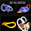 Angel Eye 2x Daytime Running Light Universal Tube Guide Soft and Flexible Car LED Strip DRL White and Yellow turn signal light