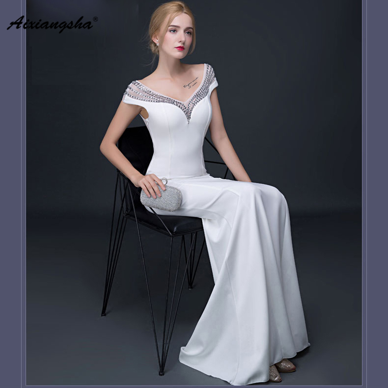 2018 Real Photo White V-Neck Sexy Short Sleeves Floor-Length Mermaid   Evening     Dresses   Elegant Customized Backless Sequined
