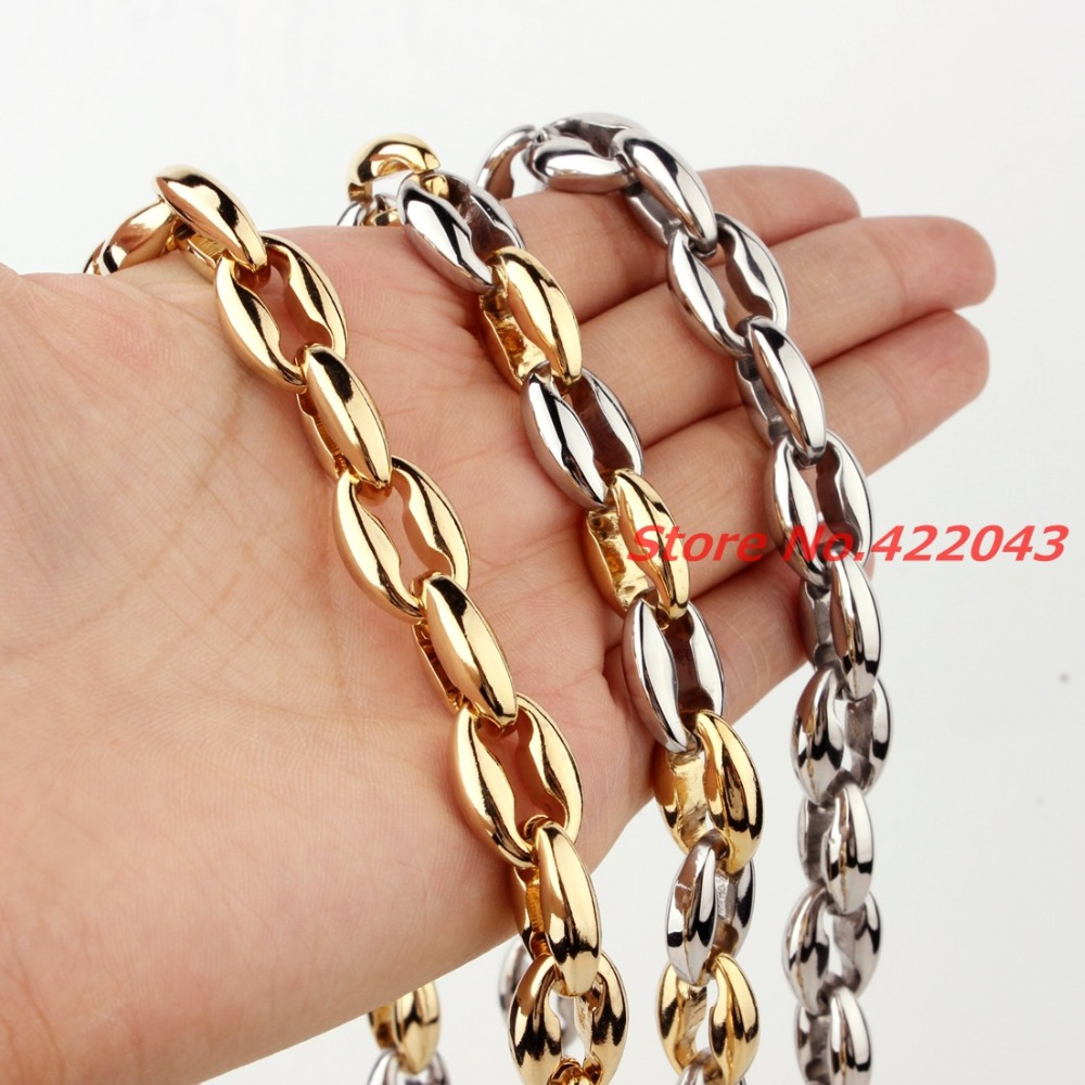 7-40 316L Stainless Steel Silver Gold 6/8/10/12mm Hollow Out Coffee Beads Bean Chain Neklace Or Bracelet Men Womens jewelry
