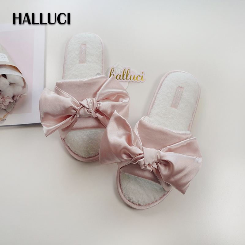 HALLUCI Winter fashion satins sexy indoor slippers for woman Cute bow pink keep warm flip-flops soft women shoes floor slippers