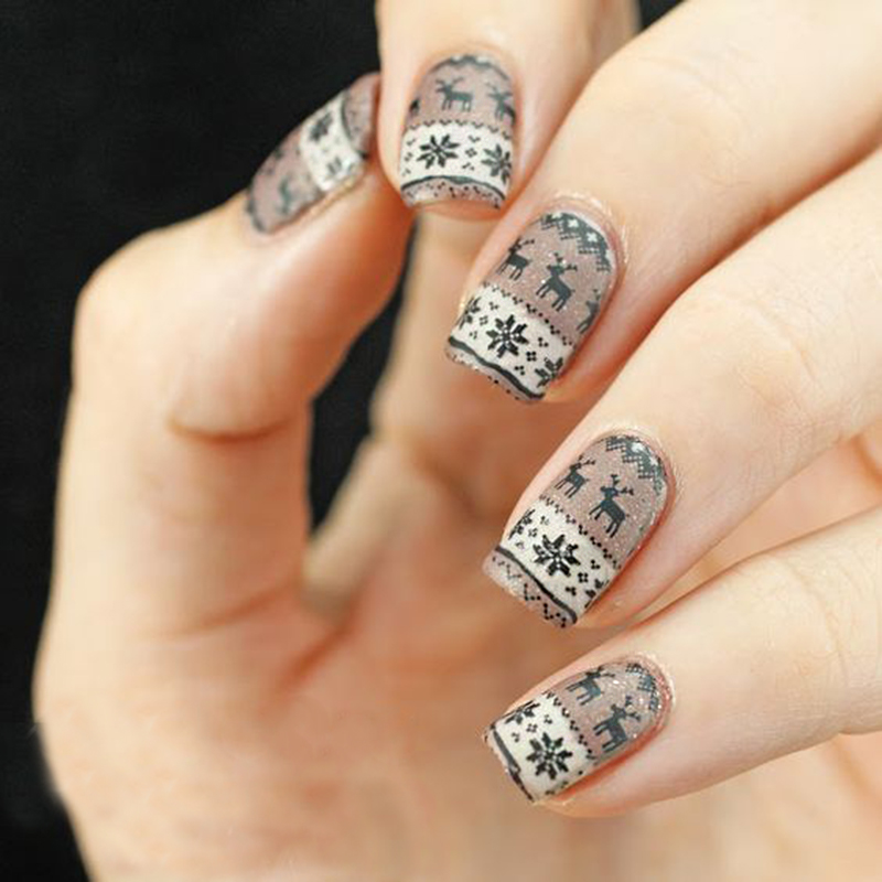 1Pc Christmas Nail Art Alphabet Snowflake Deer Lace Flower Design ...