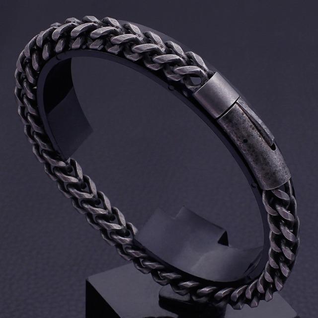 Biker wheat link chain bracelet