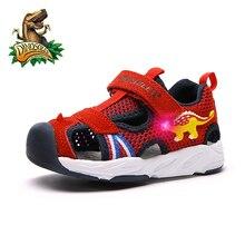 Dinoskulls girls shoes summer light up fashion baby boy sandals 3D dinosaur LED kids beach shoes 2019 Children shoes 23-26