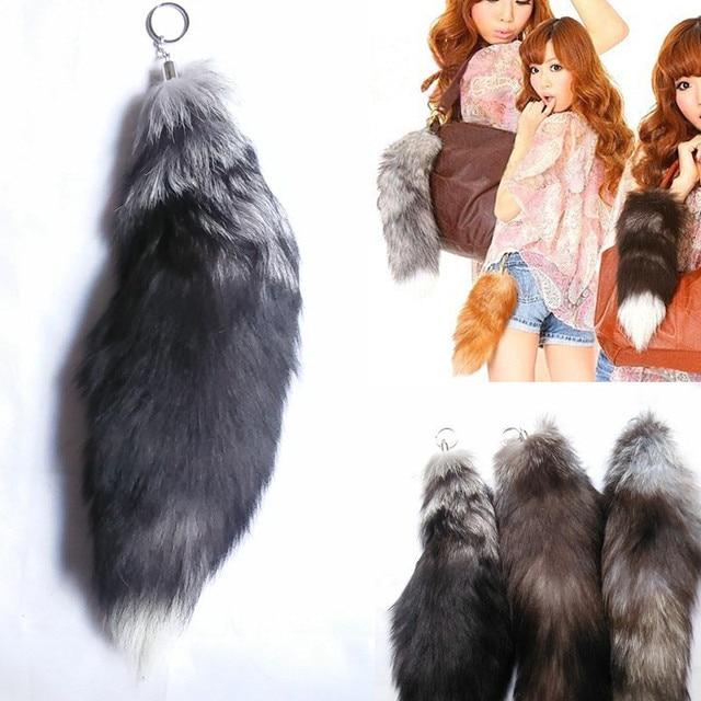 New Arrived 43cm Big Fox Fur Tail Design Bag Key Chains Deep Gray Light  Brown And Light Gray Bag Key Chains