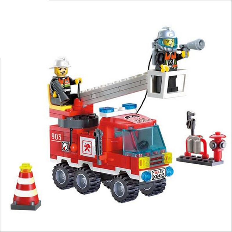 WJ214 130pcs/set Fire Fighting Truck with dolls DIY Building Blocks Toy Children Educati ...