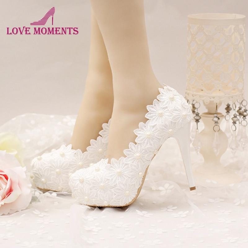 White Lace Flower Wedding Shoes High Stiletto Heel Formal Dress Shoes Bride Banquet Party Shoes Women Pumps Bridesmaid Shoes