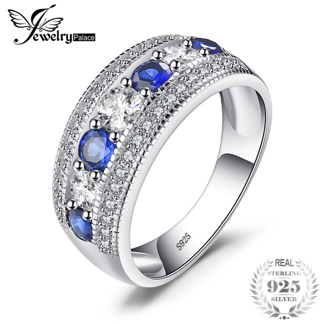 JewelryPalace Luxury 1.54ct Round Created Blue Sapphire Cocktail Band Ring 925 S
