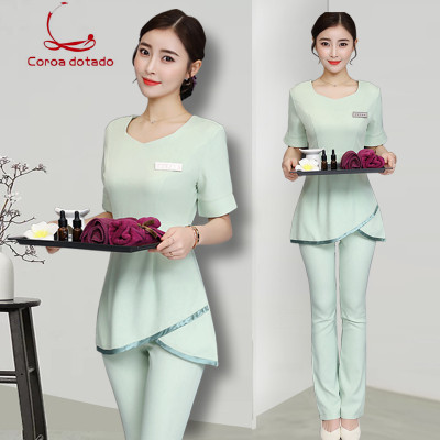 New Summer Slimming Beauty Salon Beautician Uniform Set SPA Club Female Pedicure Technician Foot Bath Technician Clothing
