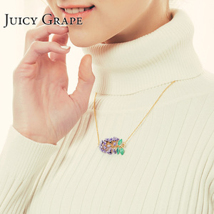 Image 3 - Collier en émail, raisin juteux, fait à la main, collier à fleurs de lavande dorée fraîche, Bijoux à la mode, cadeaux pour fille