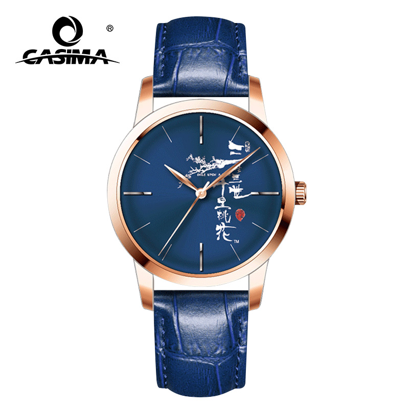 CASIMA nouveau Style chinois hommes montres en cuir bleu mode Quartz étanche montres Couple horloge relogio masculino 5135