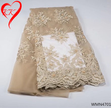 KK Beaded french lace fabric 2017 high quality African tulle lace fabrics for wedding dress Nigerian lace fabrics 5 yards WMN47 цена и фото