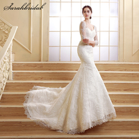 2017 Fashion Ivory Backless Beaded Lace Long Wedding Dresses Elegant Sweep Train Bridal Gowns Dresses Real Pictures ZCL07