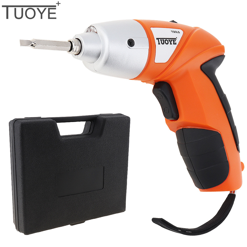 TUOYE 4.8V Mini Rechargeable 110V / 220V Electric Screwdriver 45pcs Screw Driver Bits Set with Bidirectional Button LED Light