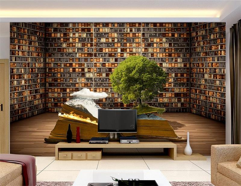 3d Photo Wallpaper Custom Room Mural Non Woven Sticker Creative Large Bookcase Bookshelf Painting TV Background Wall In Wallpapers From Home