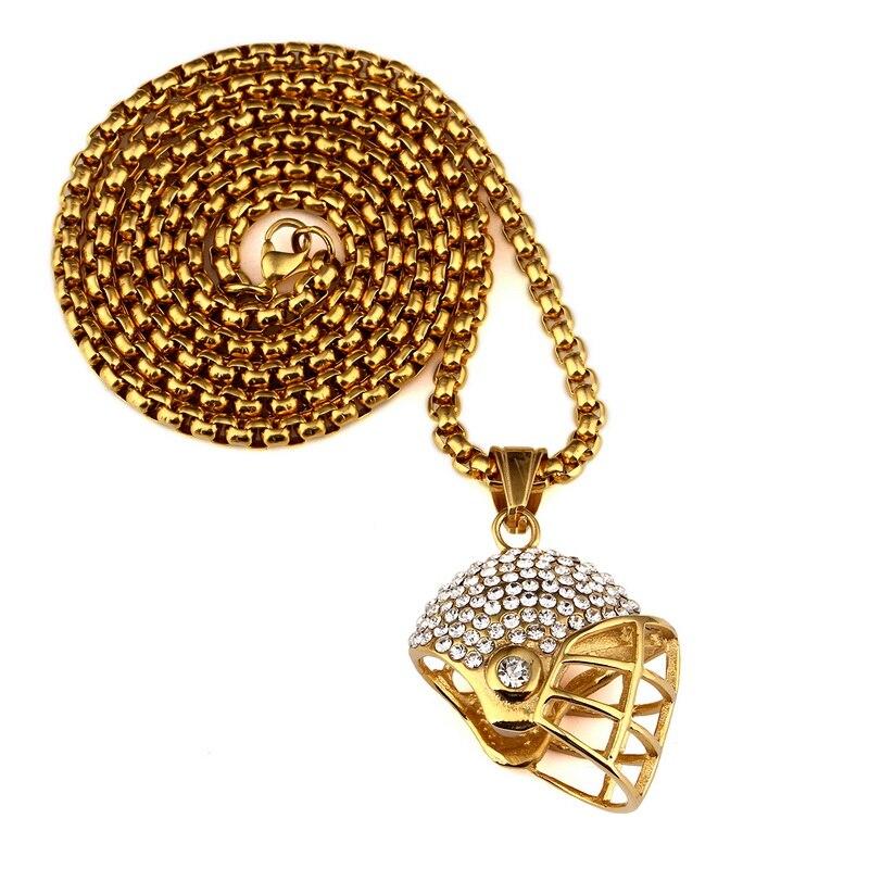 Golden Bling Sport Football Helmet necklaces Hip Hop Jewelry Crystal Chains Men Women Titanuim steel pendants