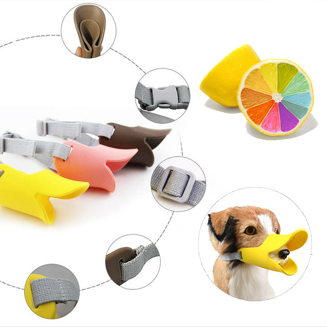 Dog Muzzle Pet Protection Dog Mouth Sleeve Duckbill Mask Design Soft Silicone Anti Bite Bark 1Pcs Dog Accessories 4