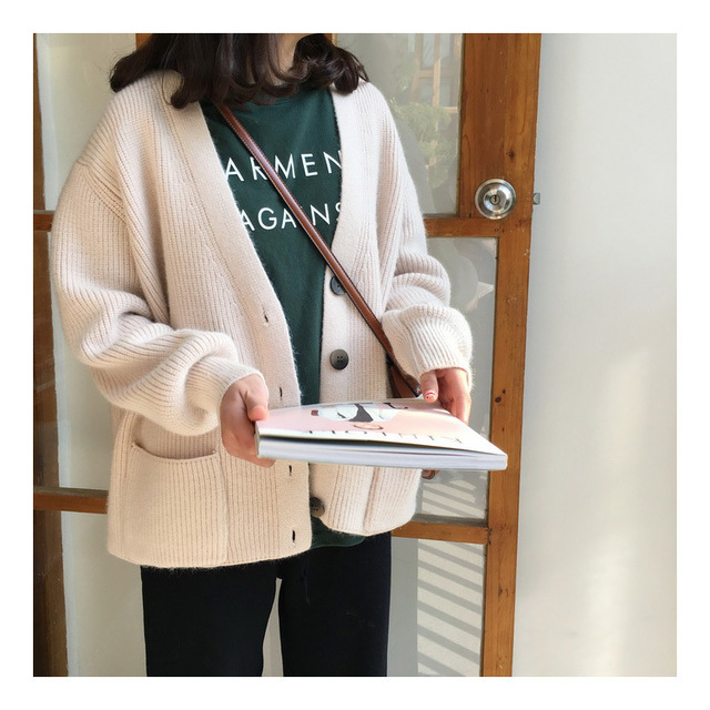 Women Cardigans Sweater V neck Solid Loose Knitwear Single Breasted Casual Outwear Jacket Coat 2