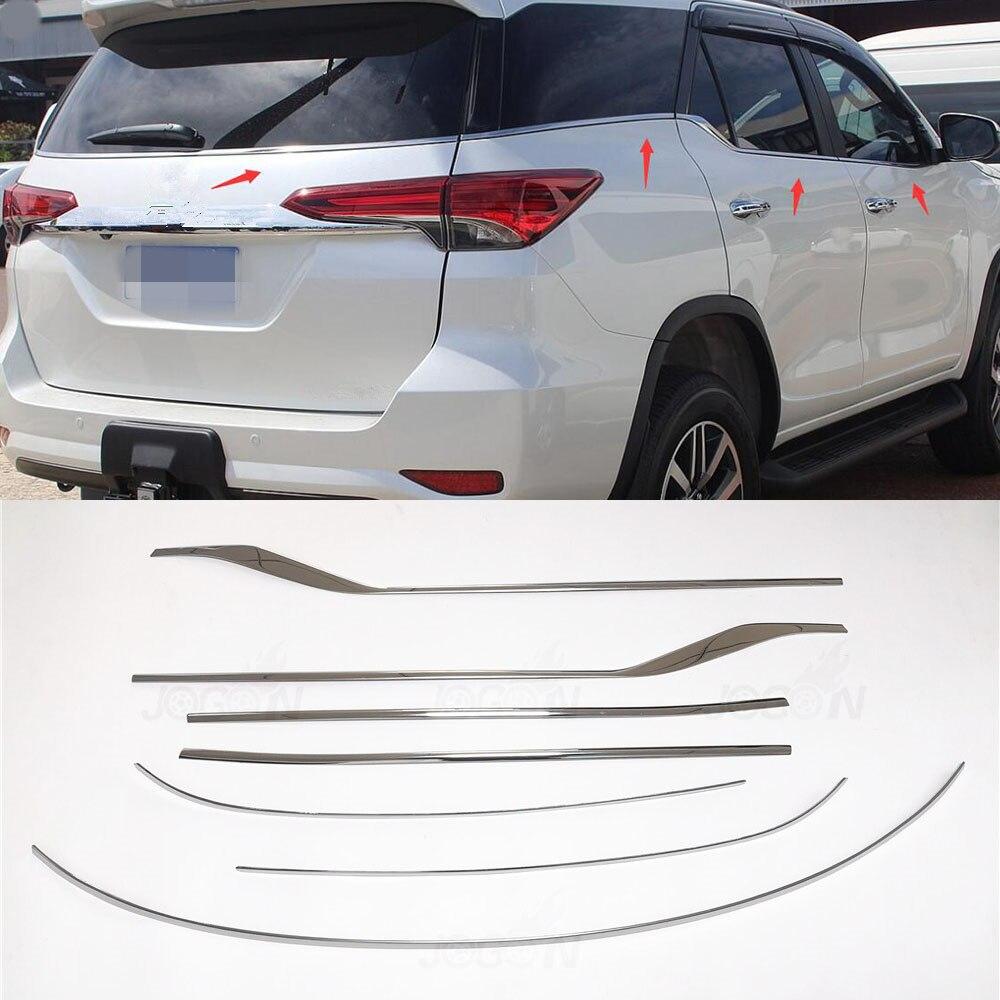 7 peças Do Carro de Aço Inoxidável Tira Janela Molding Guarnição da Tampa Inferior Para Toyota Fortuner 2016-2018