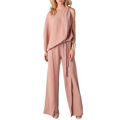 Spring Summer Women elegant loose jumpsuit sashes romper lady spring long pink plus size 2XL mono mujer largo elegante jumpsuit