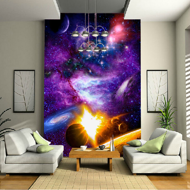 Wholesale 3d purple sky stars wall murals for child kids room 3d wall photo mural living room wallpaper Vinyl murals 3d ручка feizerg f001 purple fp001