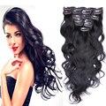 Barato MEDO 7A cabelo brasileiro corpo ondulado grampo em extensões de cabelo humano de 7 PCS Natural preto brasileiro virgem grampo de cabelo em