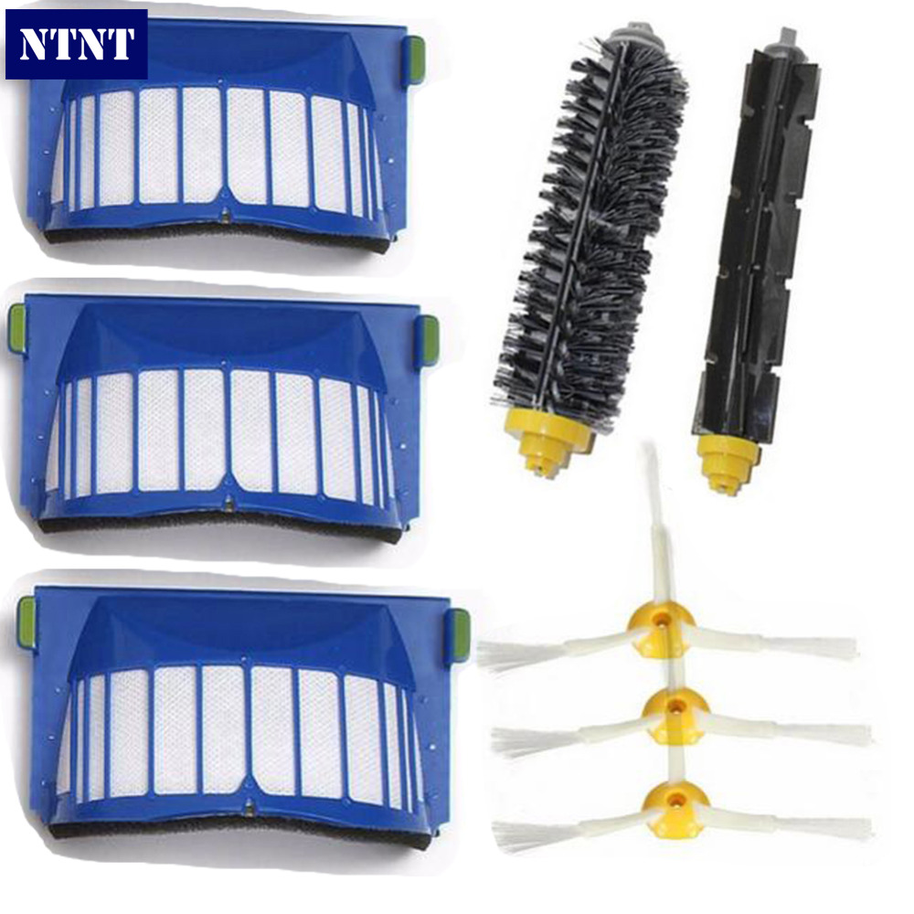 NTNT Replacement Brush Filter Kit For iRobot Roomba Aerovac 600 series 620 630 650 660 2 blue aerovac filter 4 main brush kit 4 side brush 3 srews replacement for irobot roomba 600 series 620 630 650 660 accessory