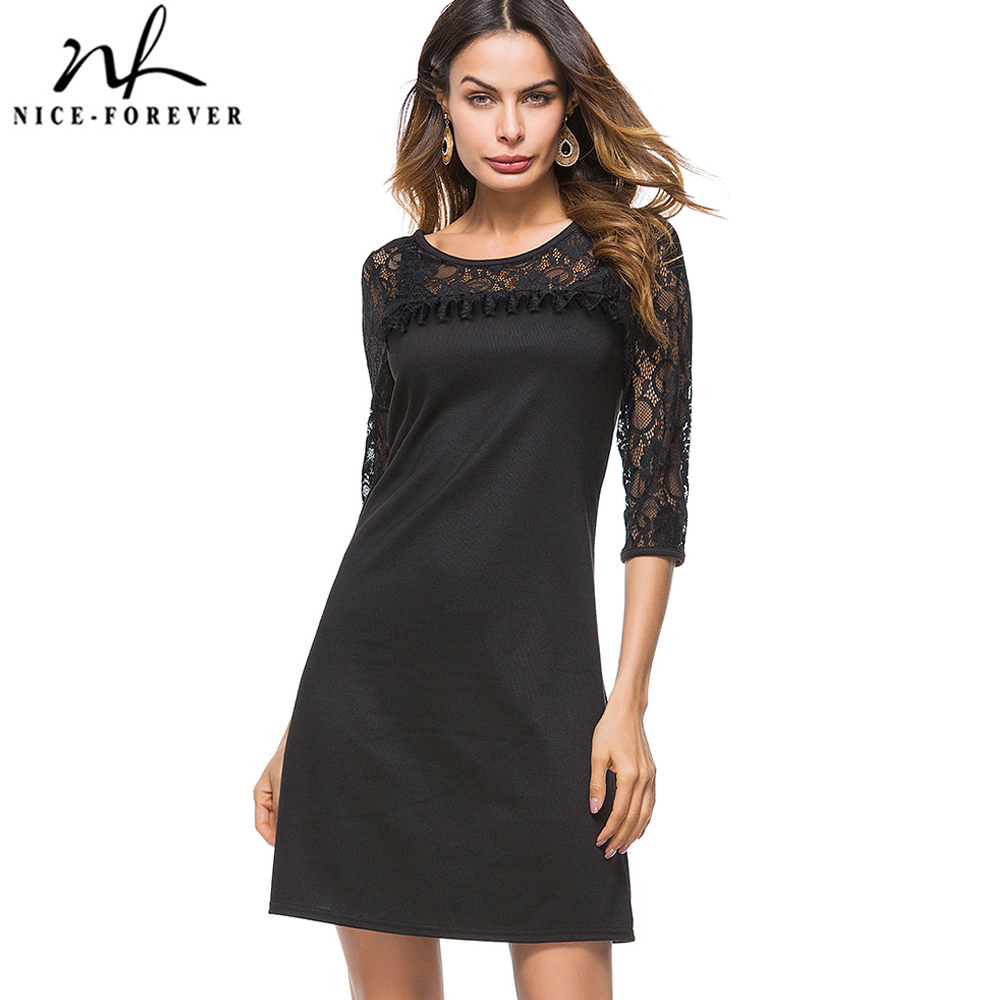 Nice-forever Causal 3/4 Sleeve Black Lace Loose Work Office Business Straight Shift Dress BtyT023