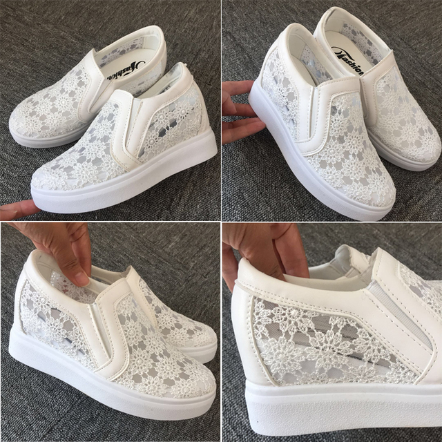 2019 New Fashion Womens Shoes Casual Wedges Mesh Shoe Slip On Lady aa0773 4