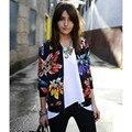 2016 Primavera Outono Moda de Beisebol Floral da cópia da flor Jaqueta curta Mulheres Cardigan Zipper Fina outwear Casaco 549