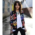 2016 Spring Autumn Fashion Baseball Floral flower print short Bomber Jacket Women Cardigan Zipper Thin Coat outwear 549