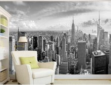 Classic black and white New York City building construction TV background wallpaper 3d mural wallpaper(China)