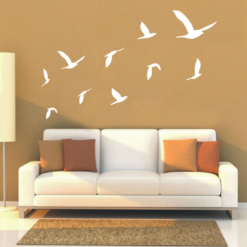 captivating living room wall art stickers | 2016 Hot Ten Geese Flying Decals Living Room Wall Art ...