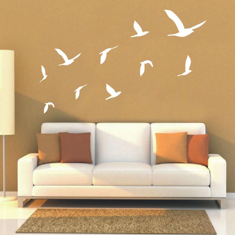 2016 Hot Ten Geese Flying Decals Living Room Wall Art