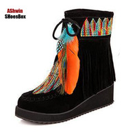 Winter schnee stiefel wildleder stlish frauen feder quaste stiefel mode frau schuhe ethnische keil plattform warme thermal boots35-43