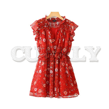CUERLY women chic floral print mini dress sexy V neck short sleeve elastic waist stylish female red A line dress vestidos stylish cami flower print a line women s dress