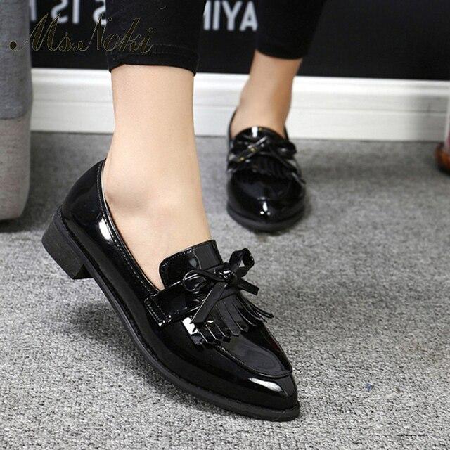 Г-жа Noki женщины Бабочка-узел Насосы Удобные девушки кожа женщины-кожа случайные туфли Ретро копыта Пятки chaussure