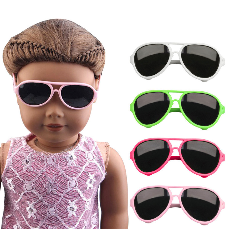 Baby Born Cool Fashion Cute Stylish Plastic Frame Glasses Sunglasses For 18 inch Our Generation American Girl Doll Clothes Toy 2016 new retro fashion matte frame glasses brand men woemn designer oculos de sol cute round sunglasses n65