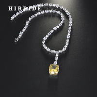 HIBRIDE Luxury Square Shape Yellow Color Pendant Necklace For Women Girls Jewelry Wedding Accessories Party Gifts N 711