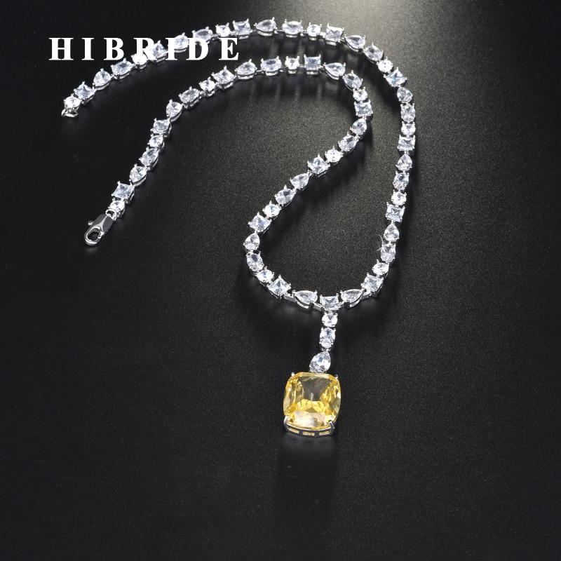 HIBRIDE luxe forme carrée couleur jaune pendentif collier pour femmes filles bijoux accessoires de mariage cadeaux de fête N-711